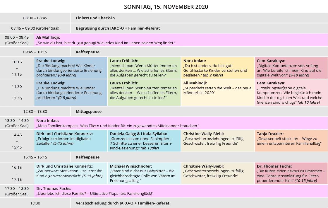Stundenplan für den Familienkongress am 14. März 2021 in Bad Ischl