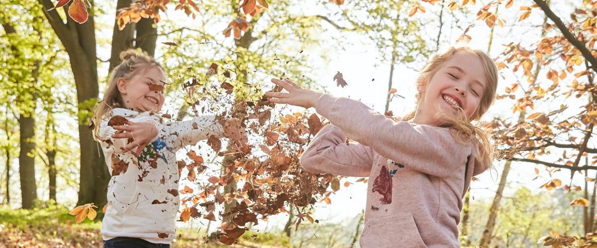Kinder beim Laubwerfen im Wald