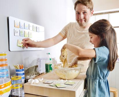 Backen für den Kindergeburtstag: Vater und Tochter backen Rührkuchen