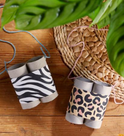 Bastelideen für den Sommer: Fernglas im Safari-Look aus Papprollen