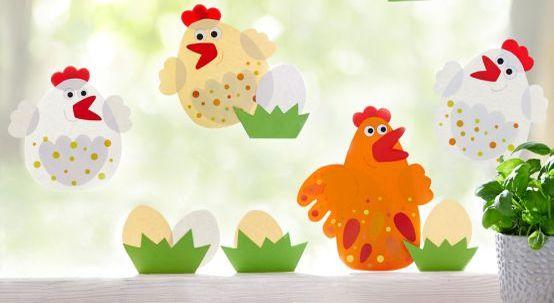 Osterdeko basteln mit Kindern: Schnippel-Hühner