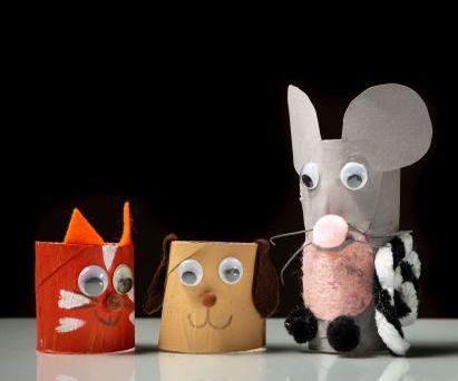 Basteln mit Kindern: Tiere aus Klopapierrollen