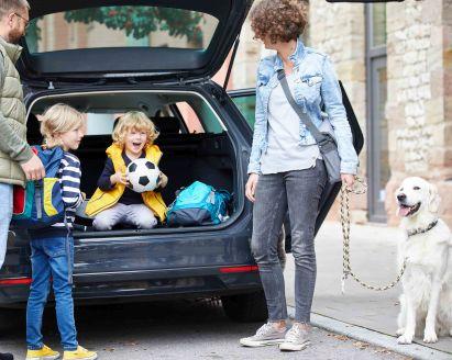 Picknick mit Kindern: Eltern packen Auto mit Proviant und Picknickkorb