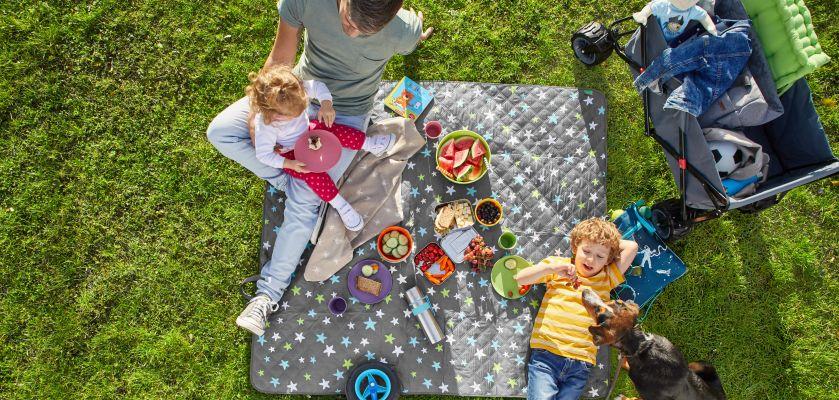 Vater macht Picknick mit Kindern