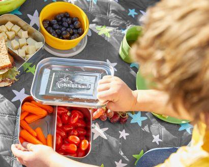 Picknick mit Kindern: Junge checkt Proviant in Frischhalteboxen