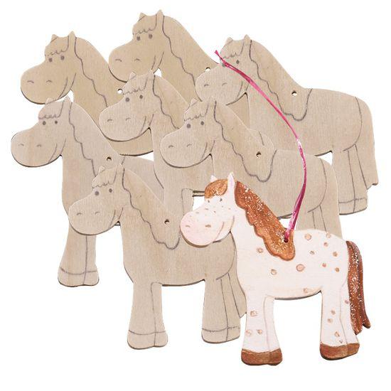 Sachenmacher Holzanhänger Pferd, 8 Stück
