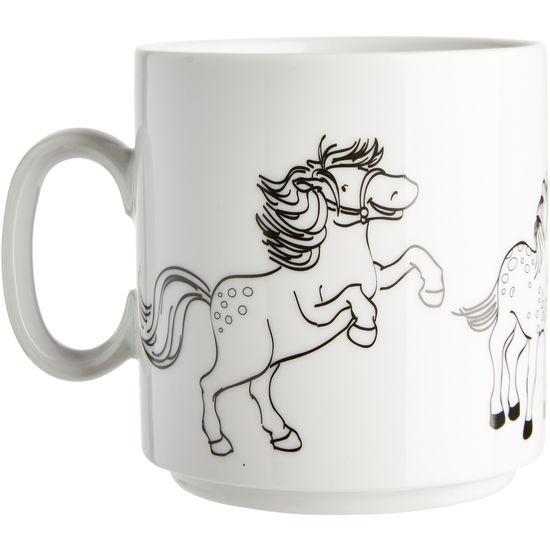 Porzellan Ausmaltasse Pferde JAKO-O
