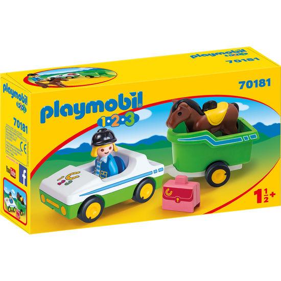PLAYMOBIL® 1.2.3 70181 PKW mit Pferdeanhänger