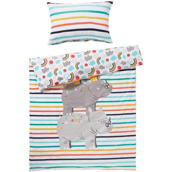 Baby Renforcé Bettwäsche Nashorn mit Reißverschluss JAKO-O, 100 x 135 cm