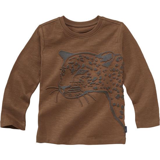 Shirt aus d/ünnem Baumwollstoff Pinokio grau mit Wolf lang/ärmlig Jungen Langarmshirt 100/% Baumwolle Wild Boy