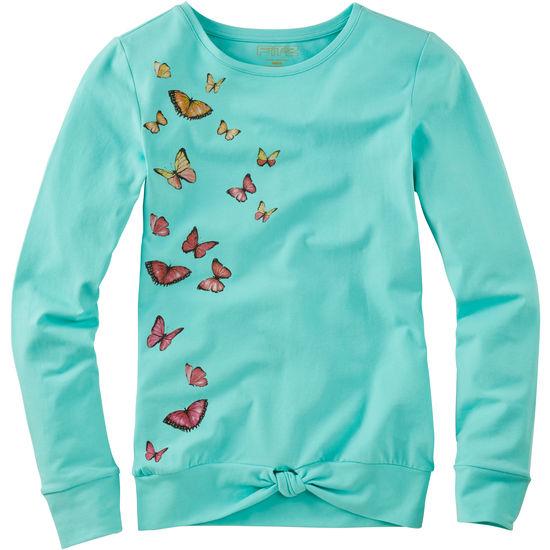 Mädchen Knoten Langarmshirt FIT-Z Schmetterlinge
