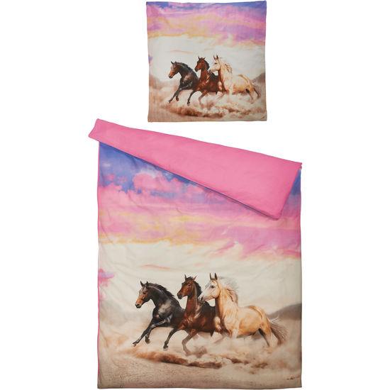 Renforcé Bettwäsche Pferde mit Reißverschluss, 135 x 200 cm