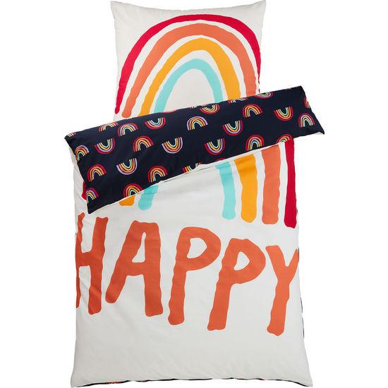 Renforcé Bettwäsche Happy Regenbogen mit Reißverschluss FIT-Z, 135 x 200 cm